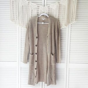 AE Don't Ask Why Tan Rib Button Duster Cardigan OS
